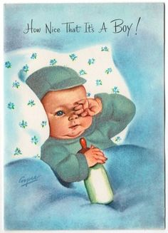 Vintage baby boy congratulations greeting card.