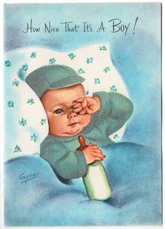 Vintage Greeting Card New Baby Boy Flocked Marjorie Cooper Used (B115)