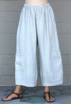 BRYN WALKER Flax HEAVY-weight Linen CASBAH PANT Pocket Pants L (XL/1X) ENOKI