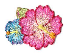 Flower - Hawaiian - Tropical - Embroidered Iron On Applique Patch
