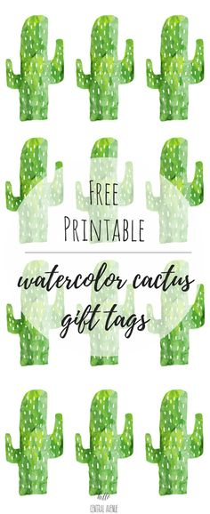 Free Printable Watercolor Cactus Gift Tags - Hello Central Avenue