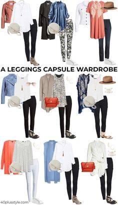 how to wear leggings over 40 a complete guide with the best leggings - - Can you wear leggings after And how to wear leggings to look stylish, young and hip after All your questions are answered here. Black Leggings Outfit, How To Wear Leggings, Best Leggings, Legging Outfits, Tribal Leggings, Printed Leggings, Capsule Outfits, Capsule Wardrobe, Mom Outfits