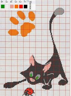 Cat and ladybug cross stitch Embroidery Beaded Cross Stitch, Cross Stitch Kits, Cross Stitch Charts, Cross Stitch Embroidery, Fall Patterns, Kids Patterns, Funny Cross Stitch Patterns, Cross Stitch Designs, Cat Applique