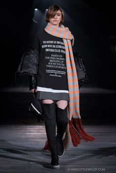 Extra, extra long striped scarves at Onitsuka Tiger x Andrea Pompilio Fall 2016