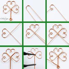 Celtic wirework clover 9 in 1.jpg Wire Jewelry Rings, Wire Jewelry Making, Jewelry Tools, Celtic Wire Jewelry, Wire Wrapped Jewelry, Metal Jewelry, Diy Jewelry, Wire Bookmarks, Irish Jewelry