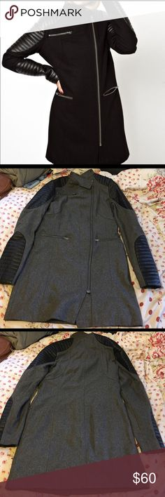 ASOS moto style longline Coat Asos Coat. Preowned and has kept me warm in Wisconsin winter. Coat is lined. No trades or modeling. Reasonable offers only. ASOS Jackets & Coats