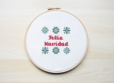 Frohe Weihnacht Kreuzstich-Muster PDF von Lanas Crespo auf DaWanda.com
