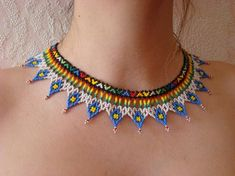 Items similar to Rainbow necklace Stylish colorful necklace Multi-colored necklace Native american indian jewelry Gift sister Gift girlfriend Boho style on Etsy Beaded Choker Necklace, Beaded Jewelry, Beaded Necklaces, Jewelry Gifts, Handmade Jewelry, Multi Coloured Necklaces, African Necklace, Boho Stil, American Indian Jewelry