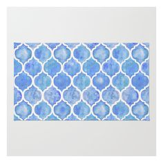 Cornflower Blue Moroccan Hand Painted Watercolor P… Rug ($28) ❤ liked on Polyvore featuring home, rugs, woven rugs, non skid area rugs, non skid rugs, chevron area rug and machine washable area rugs