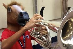 Make some music | 27 Things You Can Do While Wearing A Horse Mask