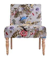 Antique Floral Bird Armless Chair