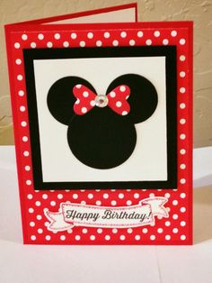 Minnie Mouse punch art card, cased from a convention swap from Susan Wohlfert. I changed the colors and stamp set. by estella Girl Birthday Cards, Bday Cards, Handmade Birthday Cards, Greeting Cards Handmade, Diy Birthday, Disney Birthday Card, Birthday Ideas, Happy Birthday, Disney Diy