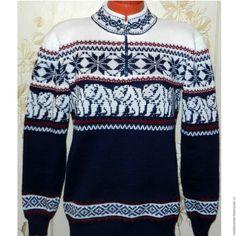 Купить Вязаный свитер Белый медведь - тёмно-синий, вязание на машине, машинное вязание на заказ