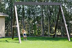 tall swing set:  This might be tall enough.  I hate getting motion sick because the throw is too short.