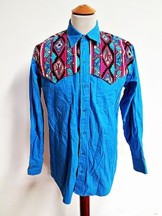 Vintage AMAZING CANYON TRAIL Geometric Blue Western Cowboy Shirt Medium