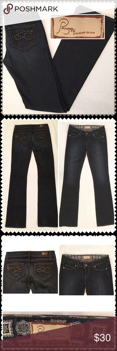 """Paige bootcut jeans Benedict Canyon Sz 26 Dark denim jeans by Paige Premium Denim. Benedict Canyon Bootcut. Embellished back pockets. Zip fly, button waist. Stretch fabric. Excellent condition! Sz 26 (98% Cotton, 2% Spandex) (14"""" across waist, 7"""" rise, 33.5"""" inseam) PAIGE Jeans Boot Cut"""