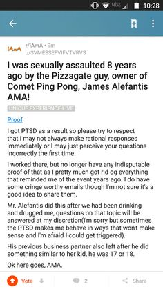 """Former Comet Ping Pong Employee Alleges: """"James Alefantis sexually assaulted me"""" — Steemit"""