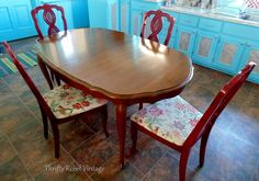 $2 Repurposed Tablecloth Kitchen Chairs Makeover