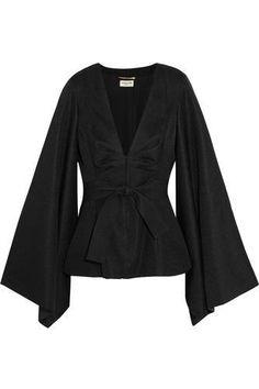Black satin-jacquard Concealed hook fastenings through front triacetate, polyester; Haut Kimono, Satin Kimono, Kimono Top, Satin Top, Black Satin, Black Kimono, Silk Crepe, Nice Tops, Style Inspiration