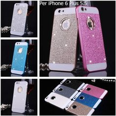 Back Cover Custodia Rigida Glitter Brillantini Per Apple iPhone 6 Plus Pellicola