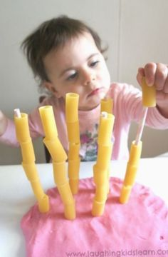 Pasta threading activity for toddlers – Laughing Kids Learn Threading pasta onto straws for fine motor skill development Motor Skills Activities, Toddler Learning Activities, Games For Toddlers, Montessori Activities, Infant Activities, Kids Learning, Montessori Materials, Toddler Play, Toddler Crafts