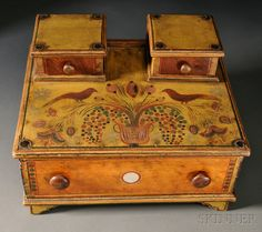 Fancy Paint-decorated Lady's Sewing Box | Sale Number 2680B, Lot Number 3 | Skinner Auctioneers
