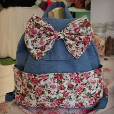 Code name: Rose Fairy Jean  Size:H40cm x W43cm Color:Jean Fabric/Fairy Floral Cotton Fabric Pocket & Bow Backpack!!