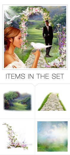 """""""Wedding day (decorate a garden arbor with flowers)! - Contest!"""" by asia-12 ❤ liked on Polyvore featuring art"""