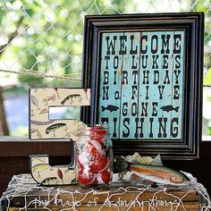 Fishing Themed Birthday party - subway art and paper mache number
