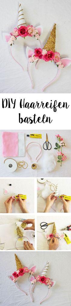 Wir zeigen euch, wie ihr diese DIY Haarreifen im Einhorn Stil ganz einfach selber machen könnt. Eine tolle DIY Bastelidee!