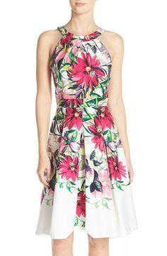 Eliza J Floral Print Tea Length Fit & Flare Dress