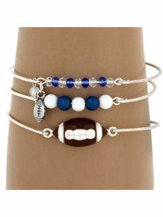 3-Piece Blue and White Football Bangle Set #JB4388-SWB | Wholesale Accessory Market