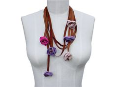 SALE Leather Flowers, Leather Necklace Multi Layer Flower Necklace Pink, Purple, Amber, in stock.