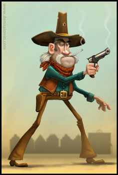 Old Cowboy by denisalonso. on Old Cowboy par denisalonso. Character Design References, Character Art, Cowboy Draw, Watercolor Artist, Westerns, Funny Caricatures, Western Comics, Colorful Drawings, Held