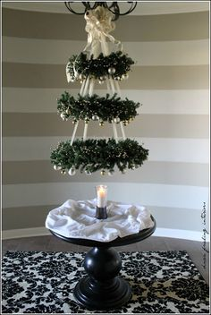 """Hanging Christmas tree ... might be dangerous with the candle so perhaps use a """"fake light"""". Different."""