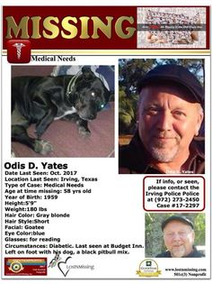 Odis Yates last seen in Irving, Texas with his dog – Missing Persons of America