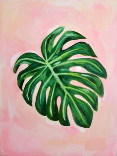 Tropical Leaf Acrylic Painting on Stretched Canvas, 18″x24″