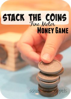 Stack the Coins Money Game- simple game to introduce money to preschoolers and have older sibs work on adding up the coin value! Great for fine-motor skills! Preschool Math Games, Math Games For Kids, Preschool At Home, Preschool Themes, Money Games For Kids, Montessori Math, Abc Games, Money Activities, Fine Motor Activities For Kids