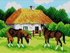 Kanwa Konie na padoku - Kokardka - sklep internetowy - haft krzyżykowy, szydełkowanie, włóczki, robótki na drutach, kanwy, filcowanie, decoupage, robótki ręczne.