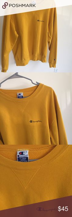 Mustard Yellow Champion Crewneck Comfy mustard yellow Champion Crewneck Champion Sweaters Crew & Scoop Necks