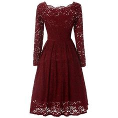 Vintage Lace Off-shoulder Long Sleeve Dress ($27) ❤ liked on Polyvore featuring dresses, gowns, red gown, sexy red dress, long-sleeve maxi dresses, sexy evening dresses and long sleeve party dresses