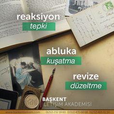 ↩️ #TürkçesiVar reaksiyon ❌- tepki ✅⠀⠀⠀ abluka ❌- kuşatma ✅⠀⠀⠀ revize ❌- düzeltme ✅ Learn Turkish, Karma, Literature, Language, Learning, Words, Cover, Instagram, Film