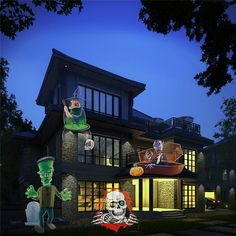 Kmashi 16 Replaceable Lens Projector Auto Moving Landscape Spotlights for Xmas Halloween Thanksgiving Wedding Garden Decoration
