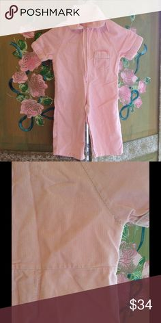 💖Cutest Pale Pink Corduroy Jumpsuit for Baby Girl The Cutest Pale Pink Corduroy Jumpsuit for Baby Girl   -in GUVC -loss of thread on back  of armpit ; has white trim and snap-button closure up legs and crotch area; zipper closure from waist up.   No tag for size but IMO could fit  9/18 Mo maybe 24 Mo.   Measurements are 11 inches PTP 15.25 PTH  11 inches STS   This Pink Wonder is previously adored. Sold as is.  Light cleaning is recommended prior to wear for all Vintage. Vintage Other