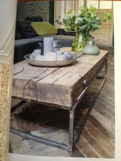 Stijlvol wonen - Houten salontafel Decor, Rustic Furniture, Furniture, Home Furniture, Timber Furniture, Coffee Table Wood, House Interior, Coffee Table, Home Deco
