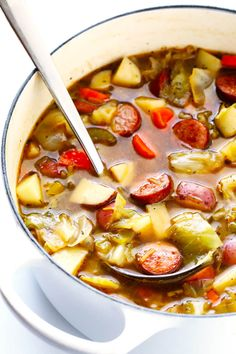 This Cabbage, Sausage and Potato Soup recipe is hearty and comforting, easy to make, and so savory and delicious. My kind of cabbage soup! Cabbage Sausage Potato, Sausage Potatoes, Sausage Soup, Sausage Crockpot, Kielbasa Sausage, Turkey Sausage, Cabbage Soup Recipes, Ham And Cabbage Soup, Cooking Recipes