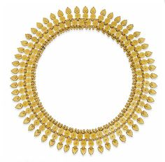 A GOLD ANTIQUE ETRUSCAN REVIVAL NECKLACE   The wide collar composed of a series of circular and acanthus leaf-shaped plaques with bead and wirework decoration to the rosette detail, circa 1880, 36.5cm long, in brown leather case by John G. Jacob, Liverpool
