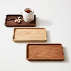 Lascassas, TN-based Holler Design makes handcrafted goods using wood sourced from their family farm. The Wood Coffee Tray, handmade from beginning to end, is cut from a single piece of hardwood then sanded and finished with a food-safe oil, so it … Diy Wood Projects, Wood Crafts, Furniture Making, Furniture Decor, Coffee Tray, Coffee Cake, Krups Coffee, Coffee Thermos, Tea Tray