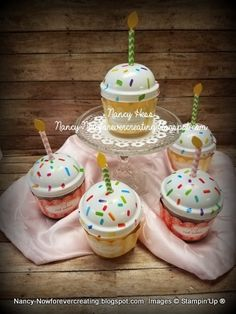 Just added a paper candle to these cute Dollar Tree cupcake candles! Dollar Tree Candles, Cupcake Candle, Coffee Candle, Birthday Celebrations, Cricut Creations, Paper Crafting, 3 D, Stampin Up, Birthdays