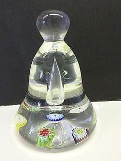"Vintage Art Glass BELL Shape Millefiori Paperweight Air Trap Bubble Center 4.5"""